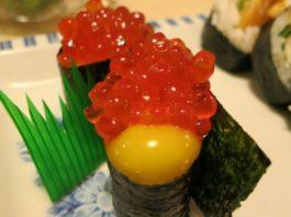 ikura with quail egg at kyoto japanese restaurant