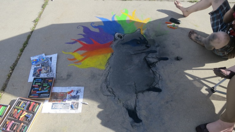 Artist Katie Day's sidewalk chalk art.