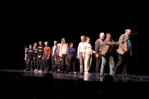 The cast for 'And The Banned Played On' takes its closing bows. Photo by Rick Pollock.