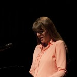Cheryl Ann Cluff, co-founder of Plan-B, reading from 'Bridge to Terabithia.' Photo by Rick Pollock.
