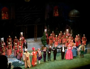 The cast of the Abduction from the Seraglio takes their curtain call at the end of the opera on opening night.