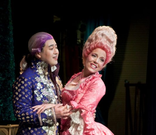 Andrew Stenson as Belmonte and Celena Shafer as Konstanze during rehearsal for the Abduction from the Seraglio.
