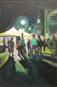 Evevning at the Utah Arts Festival, a 36x24 oil painting by Karen Horne.