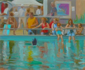 Gallivan Plaza Mirage, a 28x34 oil painting from when the Utah Arts Festival was located at the plaza downtown and the scene is set near an old wading pool, by Karen Horne.,