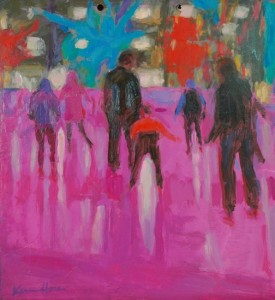 Gallivan Skaters, a 30x30 oil painting completed after the renovations were made at Gallivan Plaza in downtown Salt Lake City, by Karen Horne,