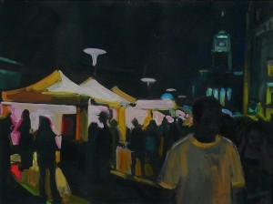 Karen Horne, Into The Night, an oil painting from a 2008 scene at the Utah Arts Festival.