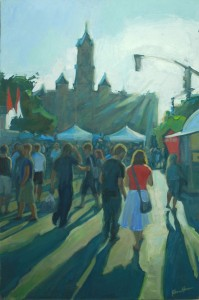Rainbow of T-Shirts at the Utah Arts Festival, a 36x24, oil painting by Karen Horne.