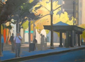 Silhouettes on TRAX, an 18x24 oil painting by Karen Horne.