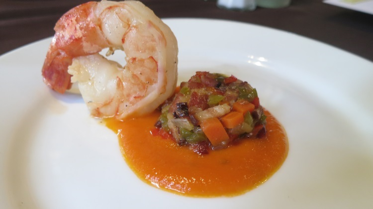 oasis grilled shrimp with eggplant and bacon caponata