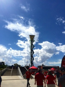 The Olympic torch in the south end zone at Rice-Eccles Stadium.