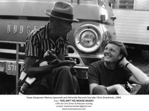 Texas blues musician Mance Lipscomb with Chris Strachwitz, 1964, from 'This Ain't No Mouse Music,' directed by Maureen Gosling and Chris Simon.