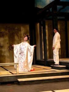 Yunah Lee and Eric Fennell at rehearsal for Utah Opera's Madame Butterfly.