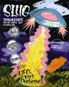 The most recent cover for Slug Magazine, drawn by Robin Banks.