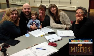 Cast for 'Christmas with Misfits' (from left) is Colleen Baum, Kirt Bateman (holding his son, Oscar), Jeanette Puhich, Cheryl Ann Cluff (director), and Julie Jensen (playwright).