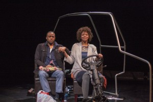 Latoya Rhodes and Carleton Bluford in 'A/Version of Events' by Matthew Ivan Bennett, Plan-B Theatre. (Photo by Rick Pollock)