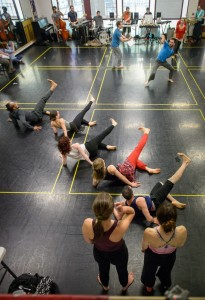 Great example of communal engagement; Ririe-Woodbury Dance Company, The University of Utah Department of Modern Dance and Salt Lake Electric Ensemble rehearse new work '53 Rooms,' created by Daniel Charon, Ririe-Woodbury artistic director.