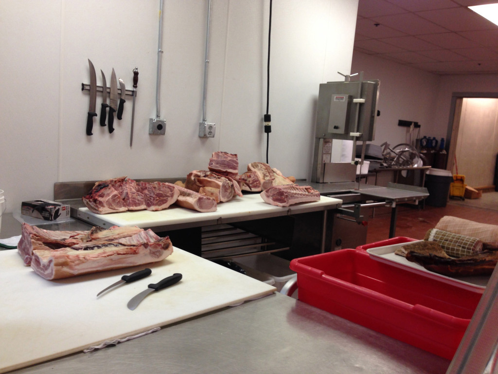 a whole hog awaits the deft touch of butcher Frody Volgger