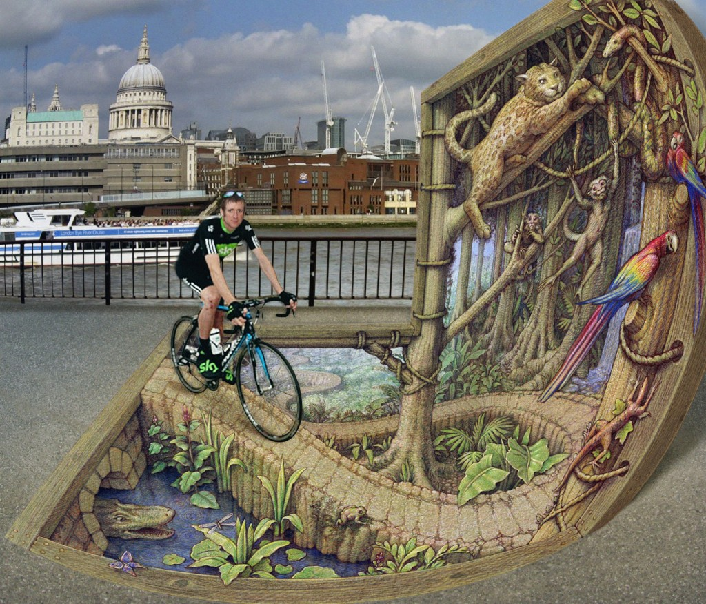 'Sky Rainforest Event' by Kurt Wenner, St. Pauls' and London craning skyward.
