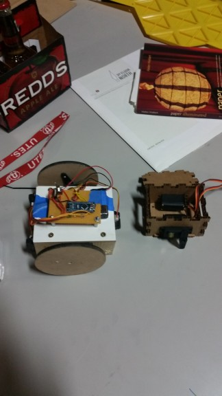 Alpha and beta versions of the Sumobots.