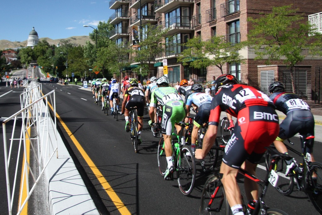 Racers fly up and down Salt Lake City streets during the downtown circuit race held on August 7, 2015