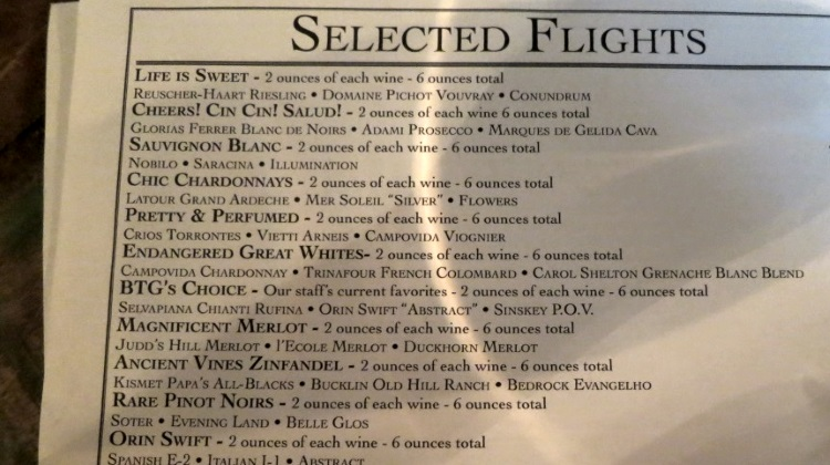 BTG wine bar wine flights