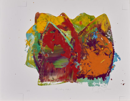No. 27 Charles Clough Painting: enamel on paper 11 x 14 in. Date: 1995 Abstract painting of all colors applied with the metal face of an iron onto a rectangular, horizontally oriented sheet of plain white paper. All the colors of paint are heavily smeared, splattered, meshed, and mixed through various layering techniques.
