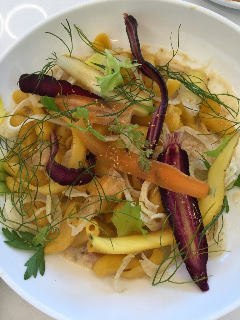 carrot torchio with milk-braised rabbit, pickled fennel and carrot ribbons