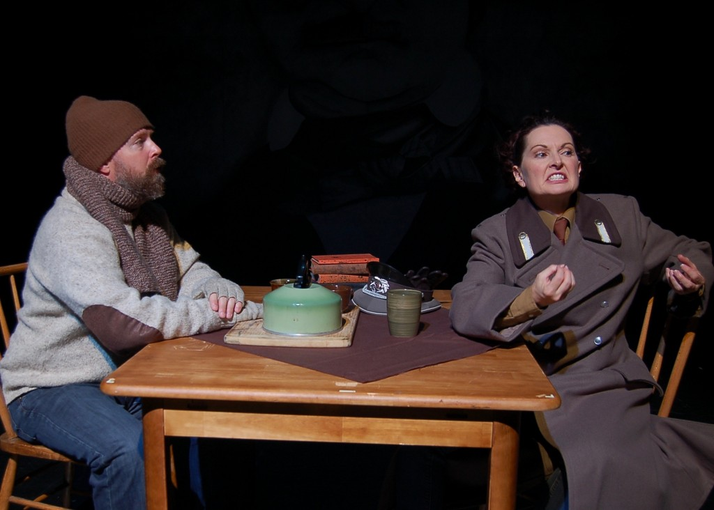 From Meat and Potato Theatre, Poe's The Purloined Letter with Josh Thoemke as Dubov and Rebecca Marcotte as Inspector Rostnikovich.