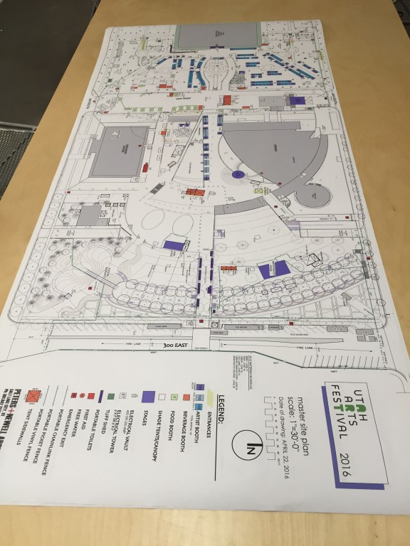 Layout map of the 2016 Utah Arts Festival.