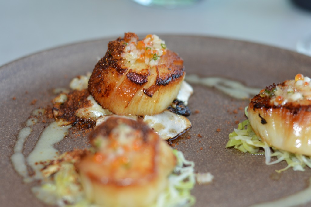 Diver scallops with vegetable dirt
