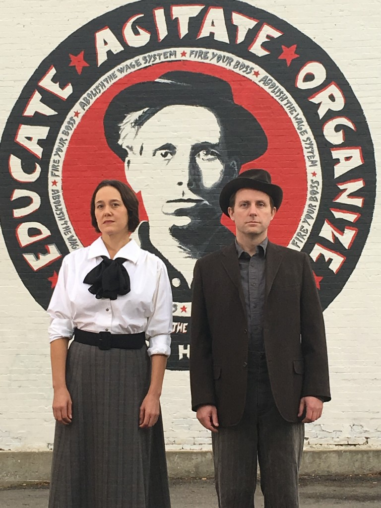 Tracie Merrill (Elizabeth Gurley Flynn) and Roger Dunbar (Joe Hill), One Big Union, by Debora Threedy, Plan-B Theatre Company. Photo: Jerry Rapier.